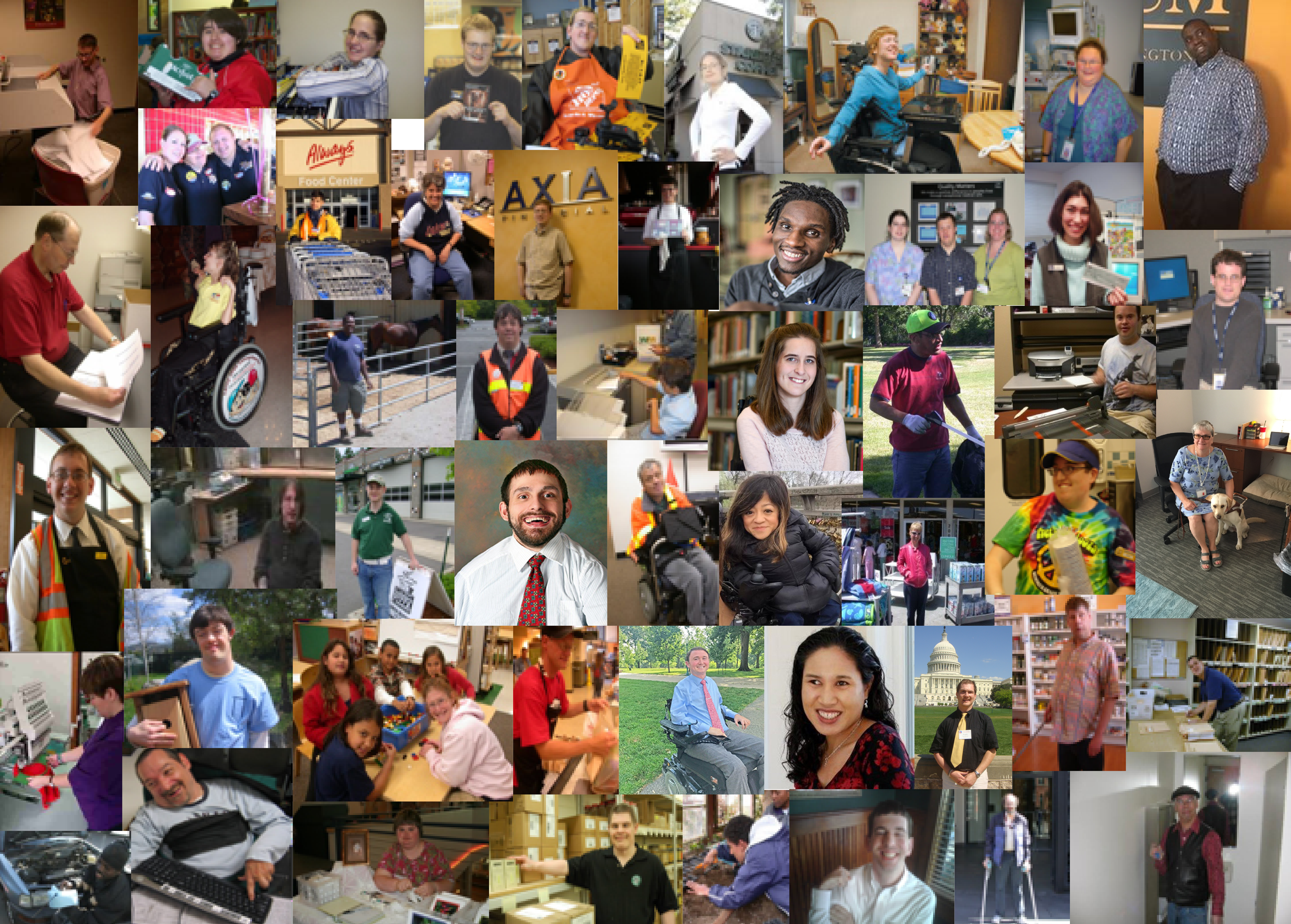 Montage of photos with people working. A large icon of two hands shaking is on top